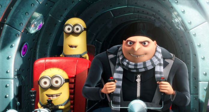 Gru and two of his Minion buddies in the cockpit of his latest diabolical supervillain vehicle.