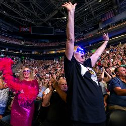 Fans cheer between songs as Elton John performs at Vivint Smart Home Arena in Salt Lake City on Wednesday, Sept. 4, 2019.