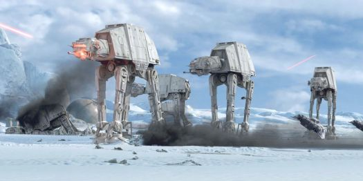 Snowspeeders battle AT-ATs on Hoth in a still from The Empire Strikes Back
