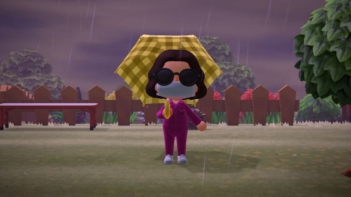 Animal Crossing: New Horizons rain storm with a character holding an umbrella