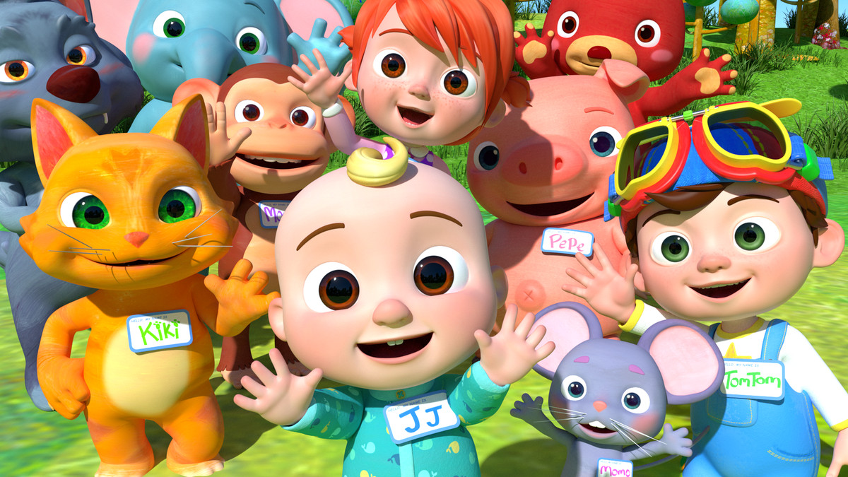 CG babies and anthropomorphic cats wearing nametags in Cocomelon.