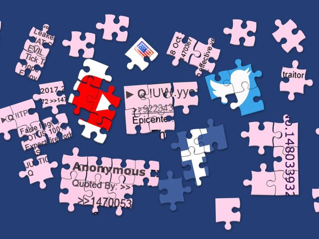 Puzzle pieces with QAnon forum posts and social media icons on them.