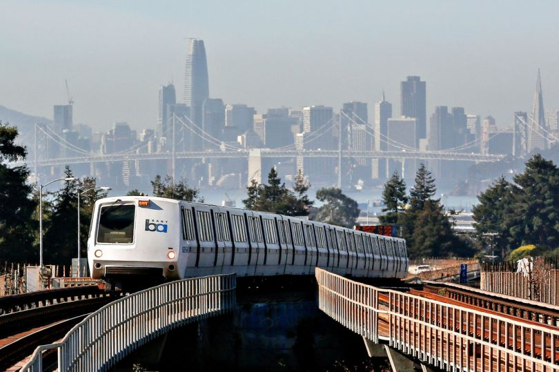 A train approaches MacArthur BART Station on Friday, November 2, 2018 in Oakland, Calif.