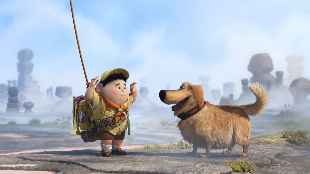 Russell and Dug in Up