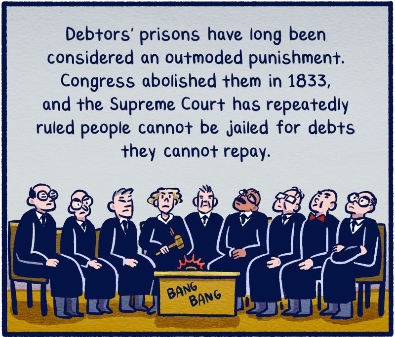 Debtors' prisons have long been considered an outmoded punishment. Congress abolished them in 1833, and the Supreme Court has repeatedly ruled people cannot be jailed for debts they cannot repay.