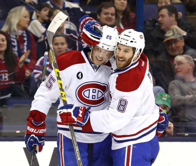 Feb 26 2015 Columbus Oh Usa Montreal Canadiens Left Wing Jacob De La Rose 25 Celebrates His First Goal Of The Season With Right Wing Brandon Prust