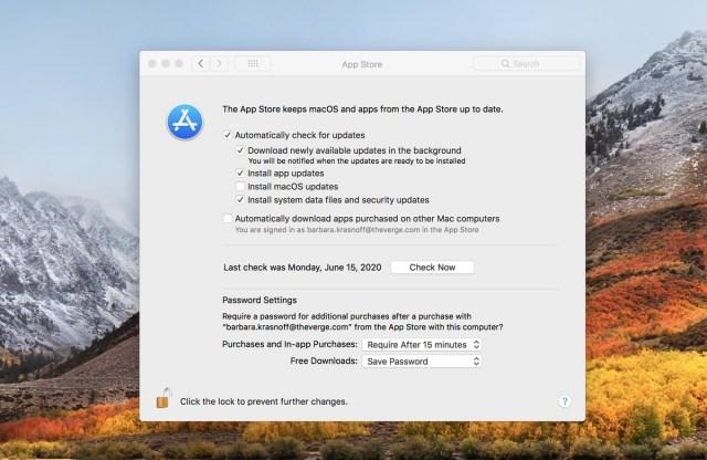 In macOS High Sierra müssen Sie die Systemeinstellungen für den App Store aufrufen, um Aktualisierungen automatisch durchzuführen.