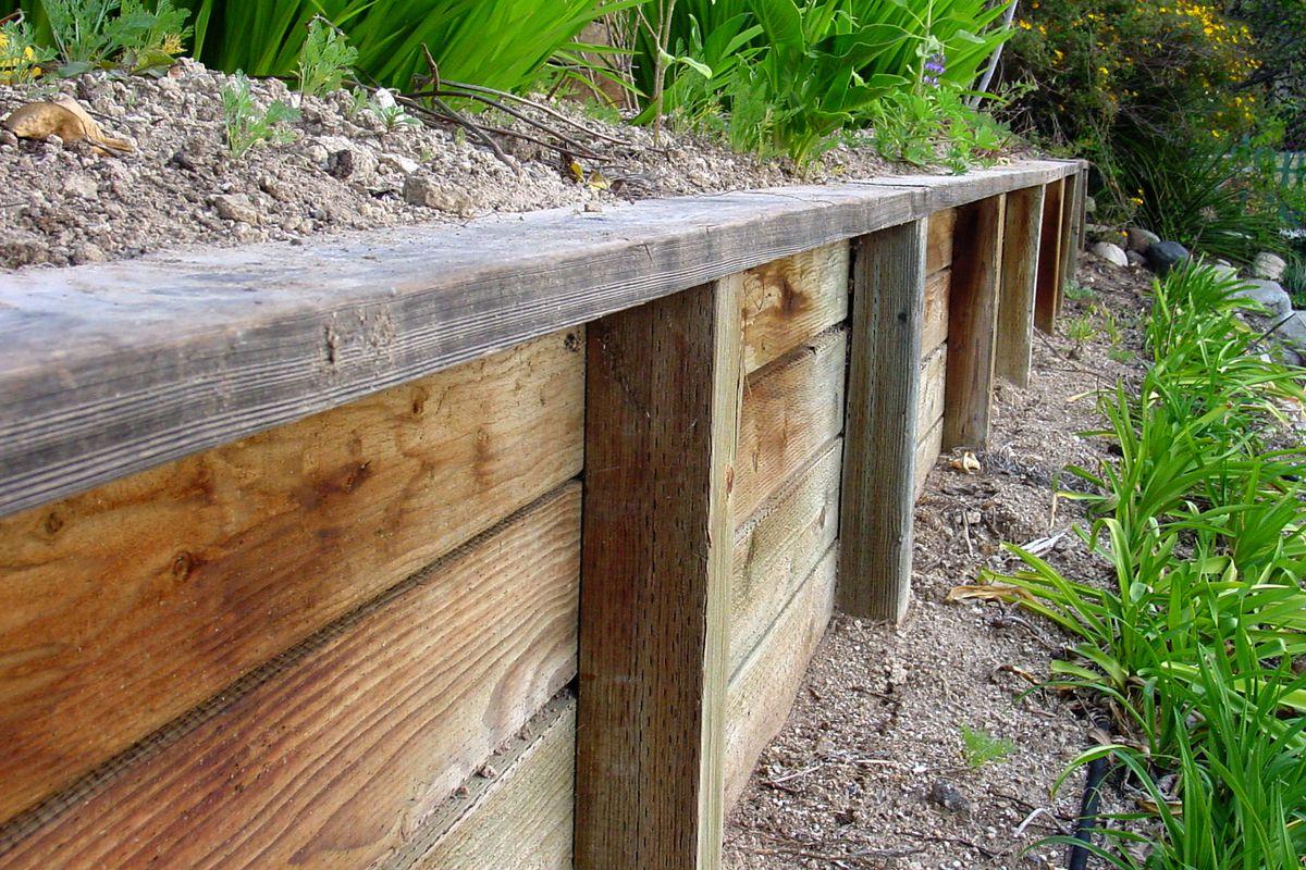 retaining wall ideas wood stone