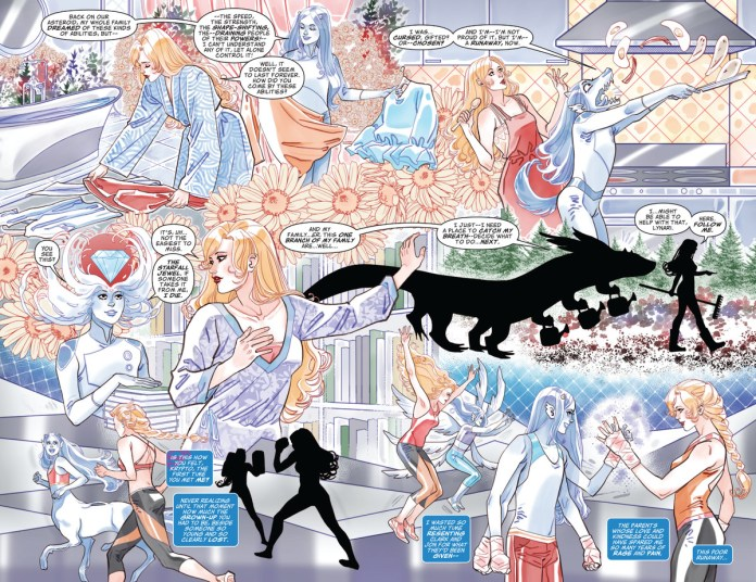 A beautifully laid out two page spread montage of Superwoman becoming friends and sharing activities with an agender alien shapeshifter in Future State: Kara Zor-El, Superwoman #1