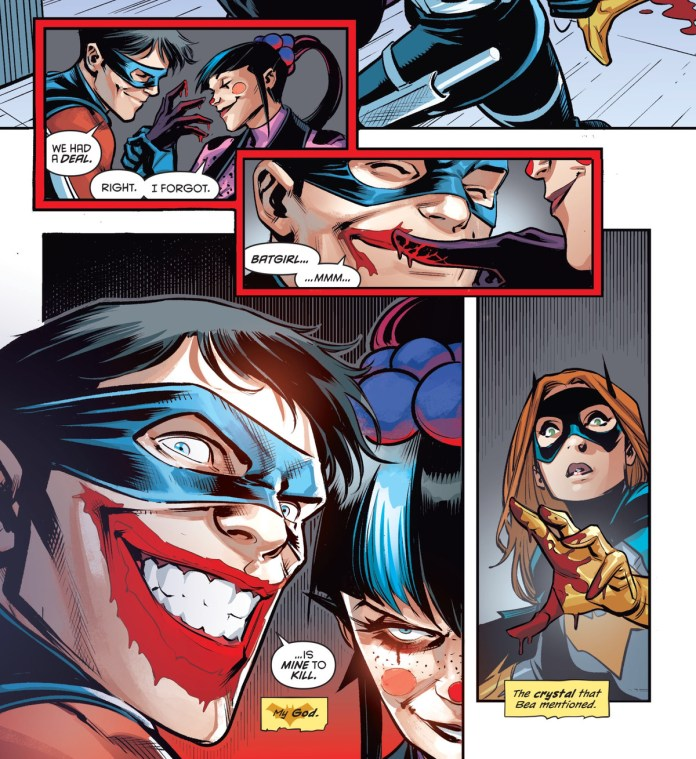 """Punchline uses Batgirl's blood to paint a Joker smile on Nightwing's face. """"Batgirl is mine to kill,"""" he says with a grin, in Nightwing #72, DC Comics (2020)."""