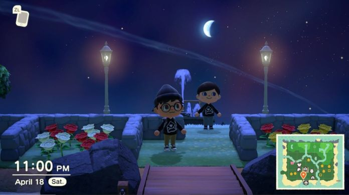 Two Animal Crossing residents stand on a moonlit section of the island, surrounded by stone fences, flowers, and street lamps.