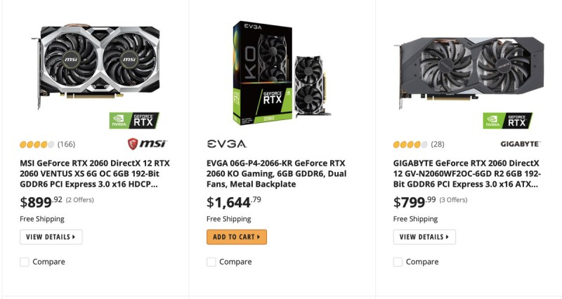 Screenshot of RTX 2060 prices, ranging from $799 to $1,644