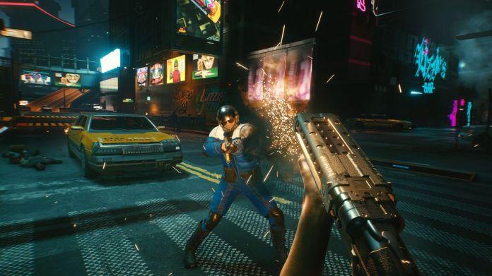 Shooting a shotgun in Cyberpunk 2077