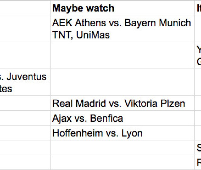 Champions League Tuesday Oct 23