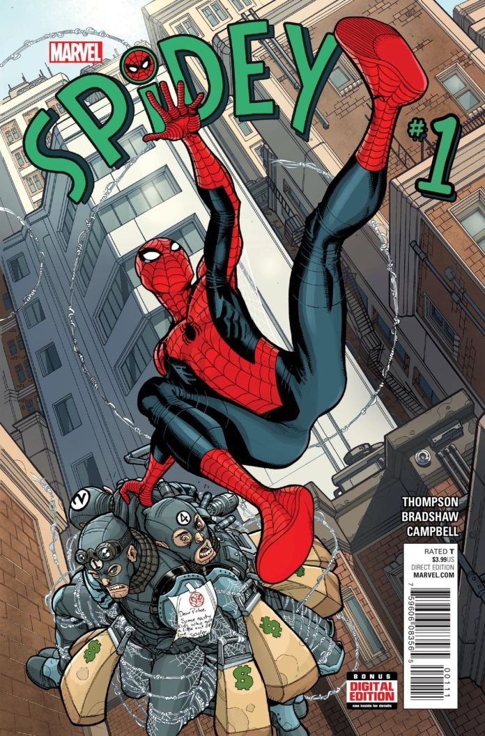 Spider-Man swings through New York City carrying four defeated bank robbers on the cover of Spidey #1, Marvel Comics (2015).