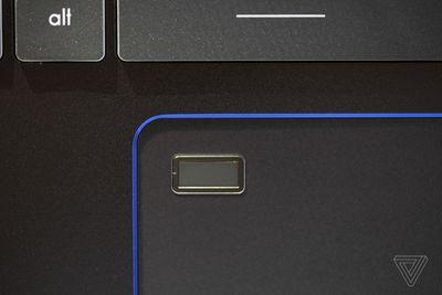 The fingerprint sensor on the MSI Prestige 14 Evo.
