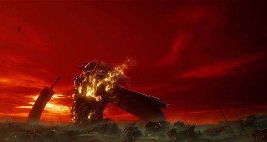 Artwork of a knight in flames against a red sunset from Elden Ring.