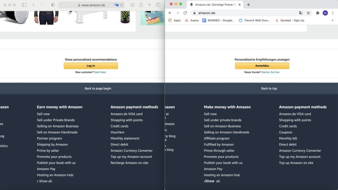 A screenshot of translated Amazon pages in Safari and Chrome side by side.
