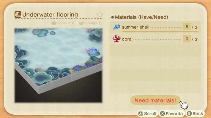 A recipe list for an Underwater Flooring