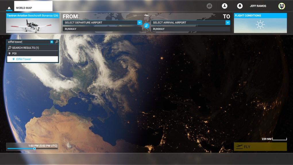 Tìm kiếm một mốc trong Microsoft Flight Simulator