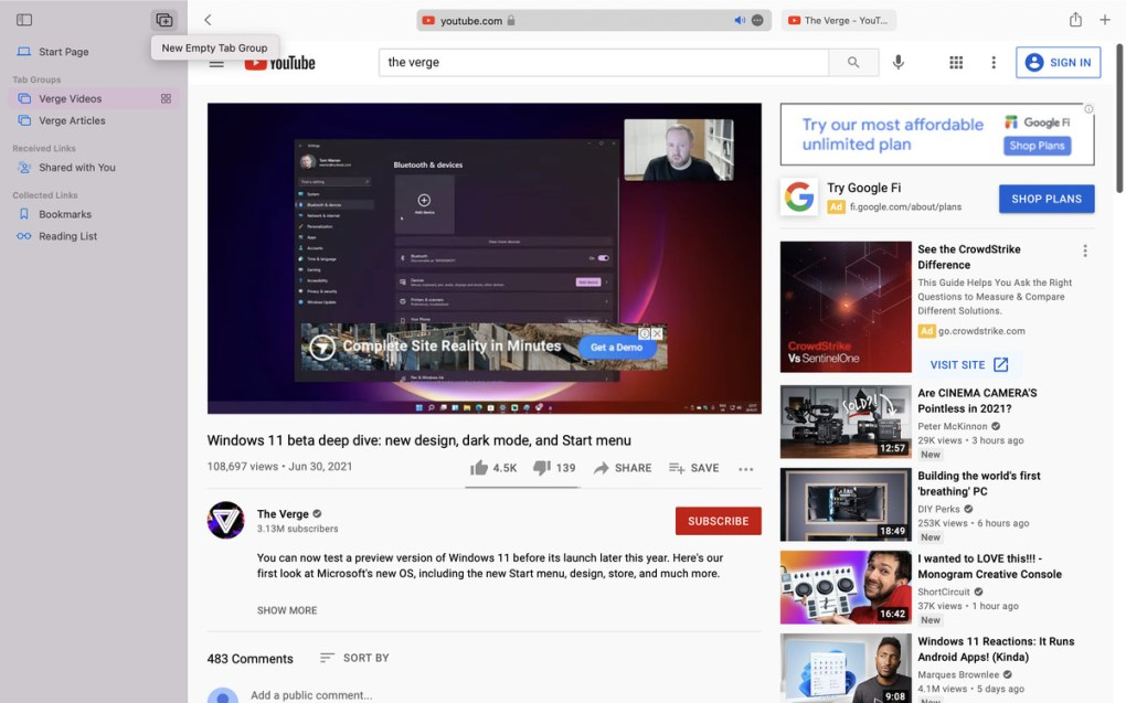 A screenshot of Safari open on a MacBook Pro. A Verge Windows 11 video is open on YouTube. The sidebar is open showing two tab groups: Verge Videos and Verge Articles.