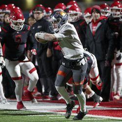 Skyridge's McCae Hillstead runs for a touchdown during a varsity football game against American Fork at American Fork High School in American Fork on Wednesday, Oct. 13, 2021. Skyridge won 42-22.