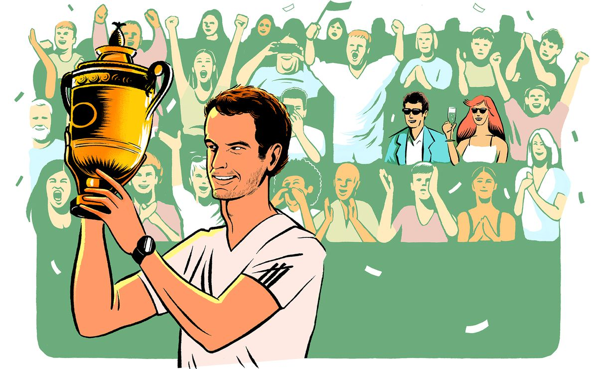 Illustration of tennis champion, Andy Murray holding his trophy. In the background hides the main character and his partner Rosie, blending seamlessly into the crowd.