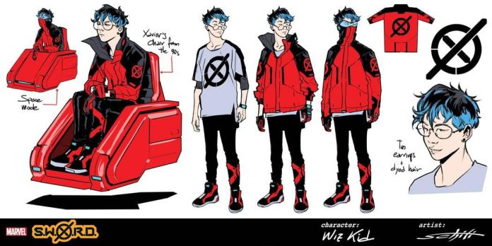 Character designs for Wiz-Kid, who wears black and red pants, and a red and black jacket with a high zip collar over a loose white and black t-shirt. He wears classes, earrings, dark blue hair, and uses a red, hovering wheelchair.