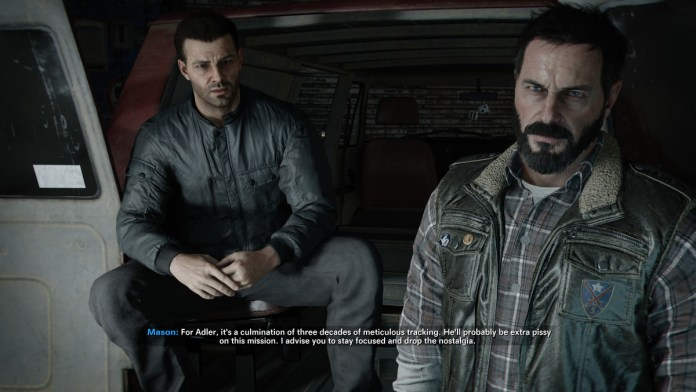 Black Ops Cold War characters Alex Mason and Frank Woods discuss a mission