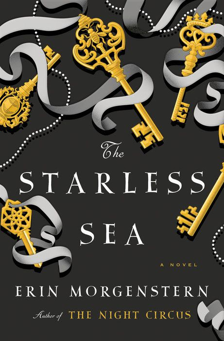 Starless Sea cover with several keys strewn about a grey background