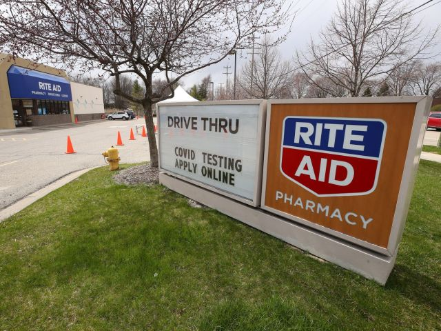 A coronavirus testing site in a Rite Aid parking lot on April 21.