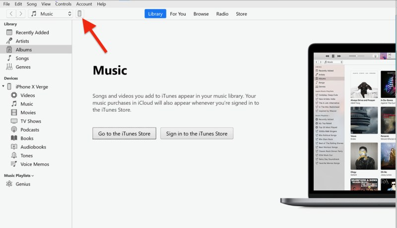 Cerca l'icona del telefono in iTunes.