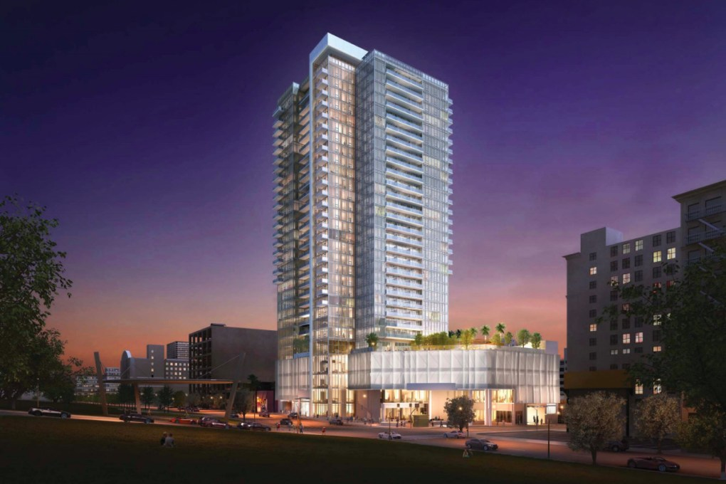 A rendering of a 31-story tower with a podium on its lower floors. On the ground floor, a little glowing opening to the subway can been seen.