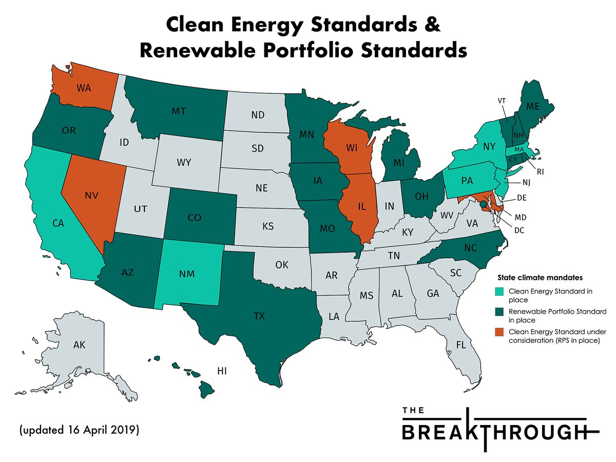 clean and renewable energy standards in the us