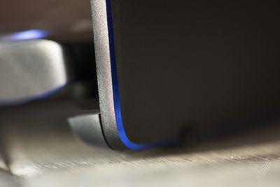 The back right corner of the MSI Prestige 14.