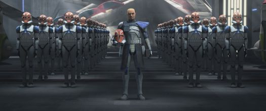 Rex from Star Wars: The Clone Wars standing near the clone army