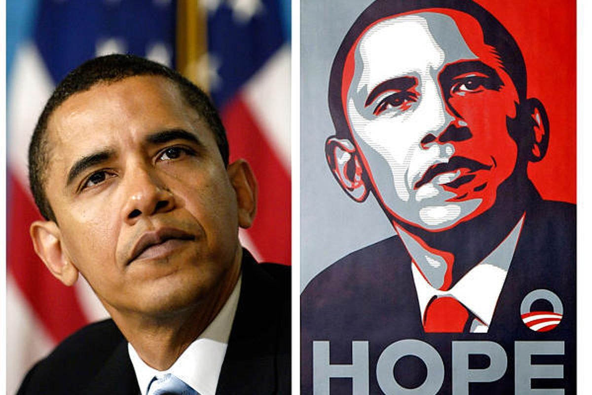 artist made up story about obama poster