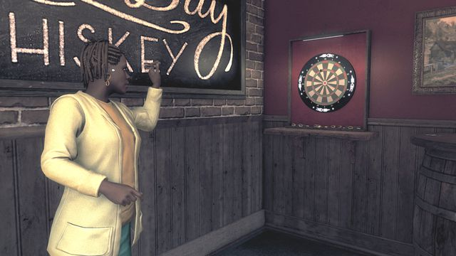 A woman in a yellow blazer readies a darts throw in front of a pub sign advertising whiskey