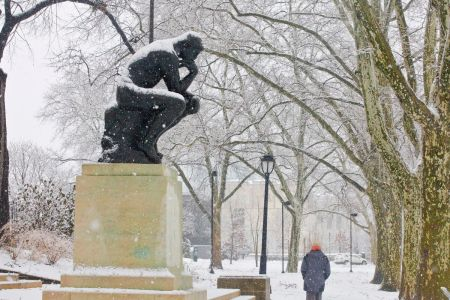 Image result for the thinker statue in winter