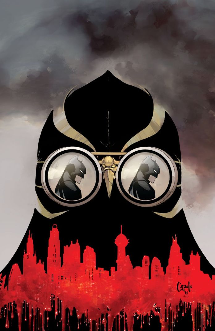 The mask of a Talon. Batman is reflected in both of its eye lenses, the Gotham City skyline is silhouetted against it in red, from the cover of Batman #4, DC Comics (2012).