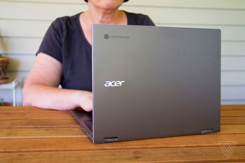 A user types on the Acer Chromebook Spin 713.