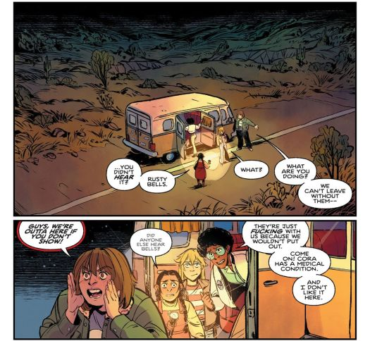 """Four teenage girls wander in and out of a winnebago nervously, in the middle of a desert road. """"Guys, we're outta here if you don't show!"""" one yells into the darkness. """"They're just fucking with us because we wouldn't put out,"""" another replies, in Proctor Valley Road #1, Boom Studios."""