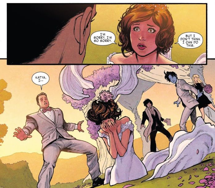 Kitty Pryde phases into the ground to escape her own wedding to Colossus in X-Men: Gold
