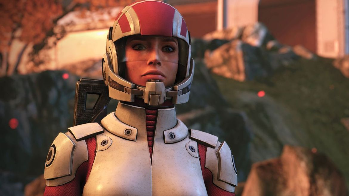 Ashley Williams wearing pink and white marine armor in Mass Effect Legendary Edition