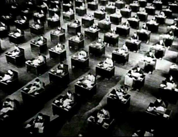 The open office circa 1928, in King Vidor's classic silent film The Crowd.