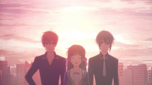 tohru standing with yuki and kyo against a setting sun in Fruits Basket