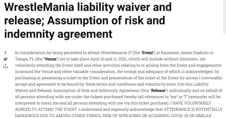 Here's the liability waiver you consent to if you attend WrestleMania