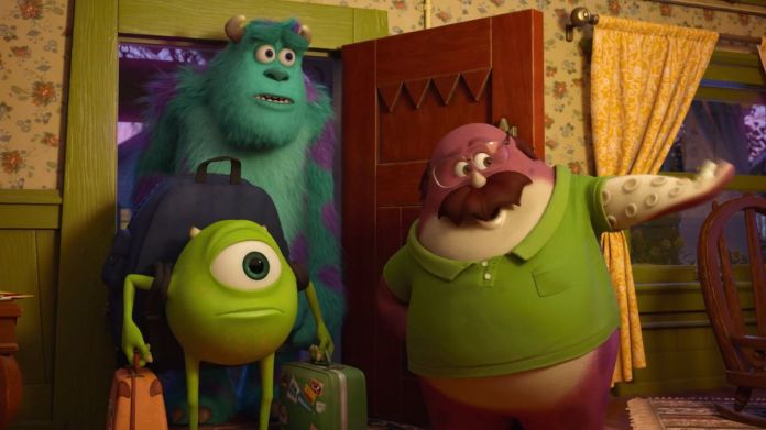 a middle-aged monster welcomes two college-aged monsters — one furry and blue, one small and green — to a fraternity house