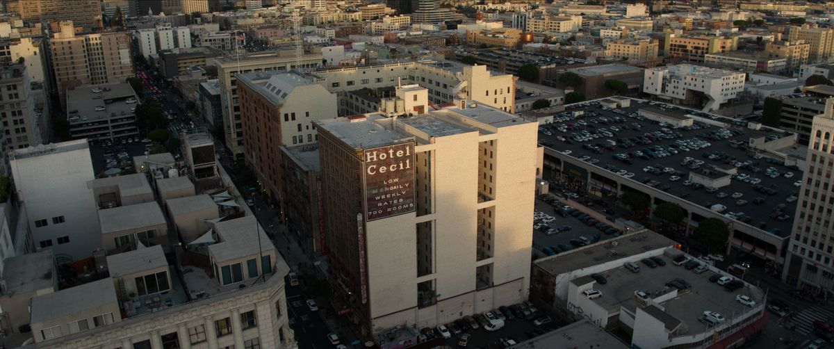 Overhead establishing shot of the Cecil Hotel in Los Angeles, California