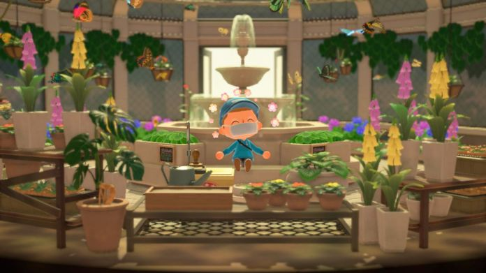 A villager sits in the butterfly room in a screenshot from Animal Crossing: New Horizons